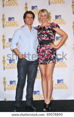 Cameron Diaz & Tom Cruise at the 2010 MTV Movie Awards at the Gibson Amphitheatre, Universal Studios, Hollywood. June 6, 2010  Los Angeles, CA Picture: Paul Smith / Featureflash - stock photo