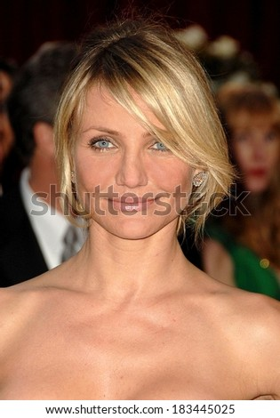 Cameron Diaz, wearing Bulgari earrings, at RED CARPET - 80th Annual Academy Awards Oscars Ceremony, The Kodak Theatre, Los Angeles, CA, February 24, 2008 Photo by David Longendyke/Everett Collection - stock photo
