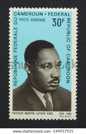 CAMEROON - CIRCA 1968: a postage stamp printed in Cameroon  showing an image of Nobel Peace prize winner Martin Luther King Jr., circa 1968.
