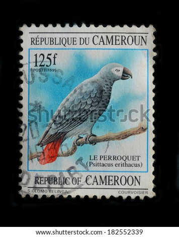 CAMEROON -CIRCA 1995 : A stamp printed in Cameroon shows African Grey Parrot, circa 1995