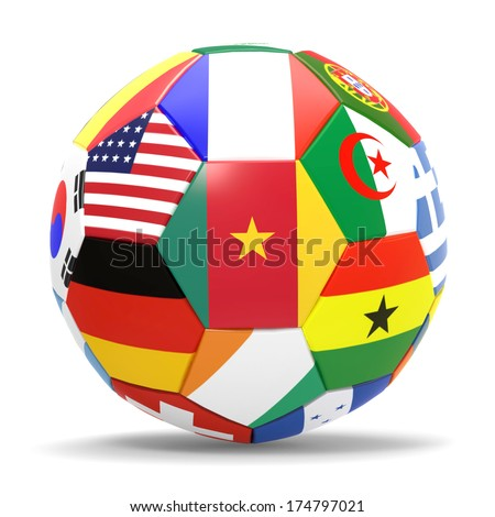 Cameroon - 3D render of soccer football with flags on white background - stock photo