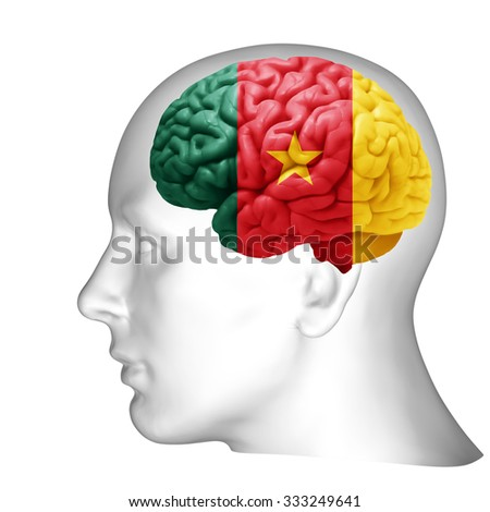 Cameroon flag, human head with brain and white  background
