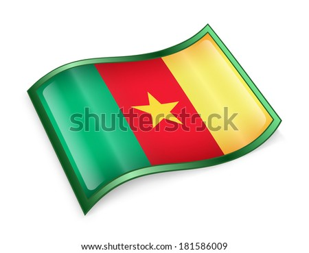 Cameroon flag icon, isolated on white background - stock photo