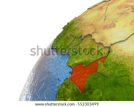 Cameroon highlighted in red with surrounding region. 3D illustration with highly detailed realistic planet surface and reflective ocean waters. Elements of this image furnished by NASA.