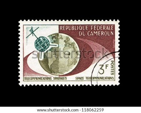CAMEROUN - CIRCA 1965: stamp printed in Cameroun, shows telecommunications spatiales space, circa 1965.