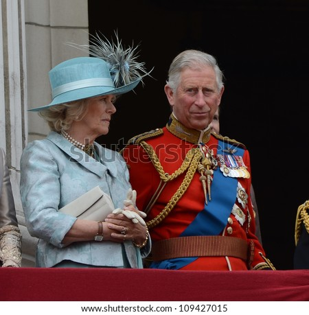 Camilla Duchess of Cornwall and Charles, the Prince of Wales attend the Trooping Of The Colour at Horse Guards Parade, London, UK. June 16, 2012, Picture: Catchlight Media / Featureflash - stock photo