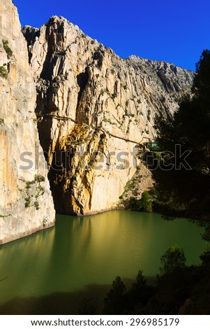 Caminito del Rey  over Reservoir at Chorro river. Andalusia, Spain - stock photo