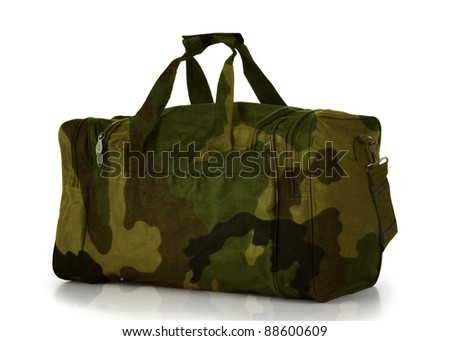 Camoflage Duffel Carry On Bag - stock photo