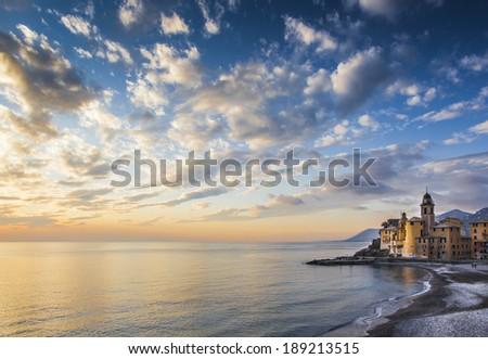 Camogli at sunset - stock photo