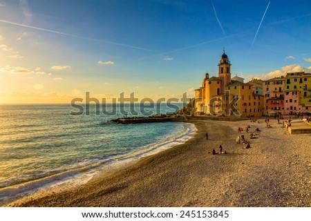 Camogli is a little village in Ligury on the Mediterranean sea - stock photo