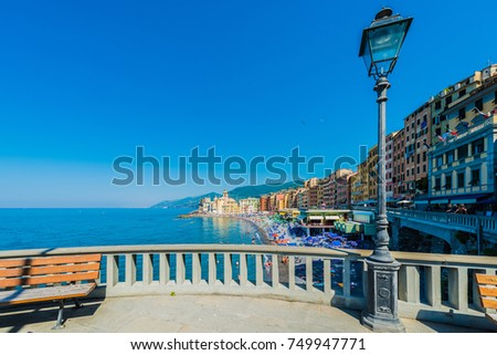 CAMOGLI, IT - JUNE 24, 2016: Camogli village near Cinque Terre in Liguria Region, Northern Italy.