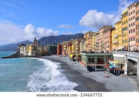 Camogli. Mediterranean seascape. Liguria, Italy. - stock photo