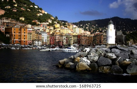 Camogli typical harbor