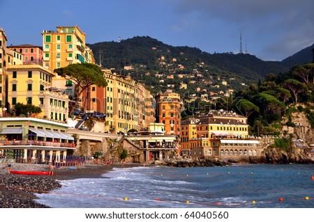 Camogli village beach, liguria, Italy - stock photo