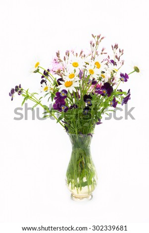 camomile and wild flowers bouquet on a white background - stock photo