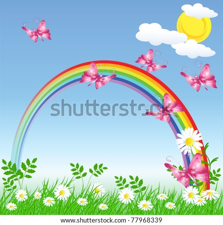 Camomiles with green grass and rainbow. Raster version of vector. - stock photo