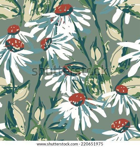 Camomille seamless pattern - stock photo