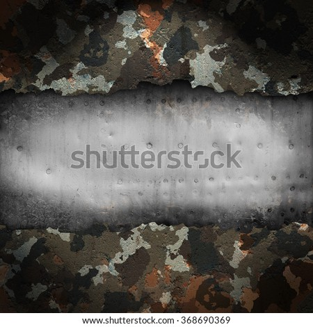 Camouflage military background with scratches and stains - stock photo
