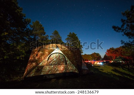 Camouflage Tent  in the mountains. Natural Attractions Thailand - stock photo