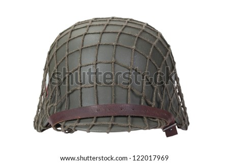 camouflaged german army helmet World War II period isolated on a white background - stock photo