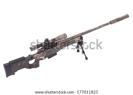 camouflaged sniper rifle with scope - stock photo