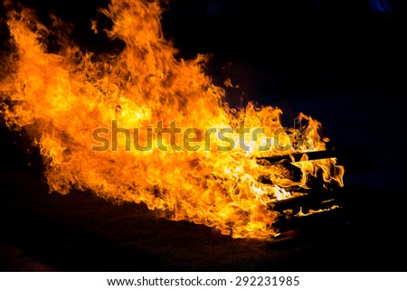 Camp fire burning wood on grass field - stock photo