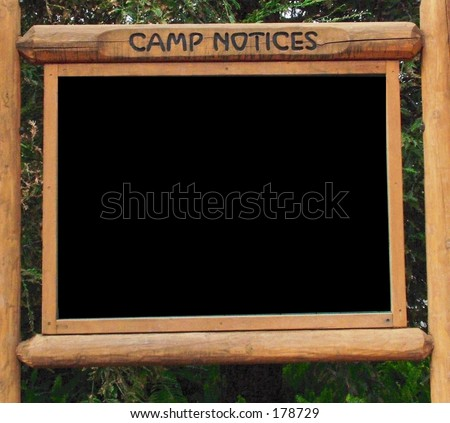 Camp ground sign board, blank for your message, photos - stock photo