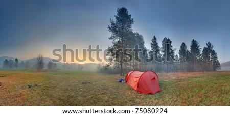 Camp in spring morning - stock photo