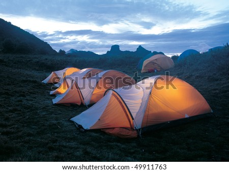 camp in th mountain. - stock photo
