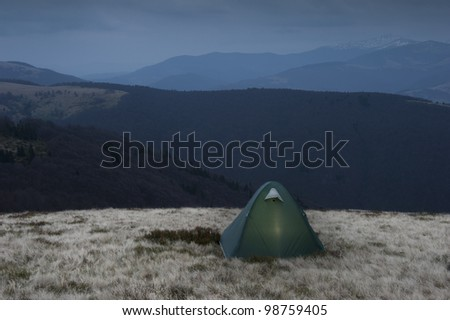 Camp in the Mountains - stock photo