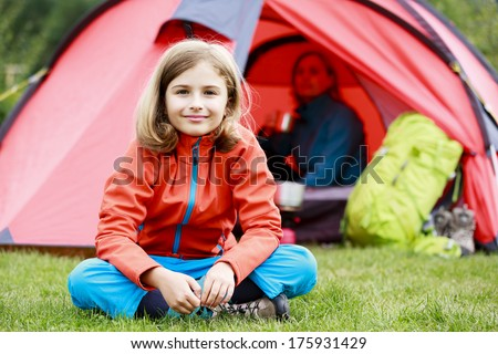Camp in the tent - family on the camping - stock photo