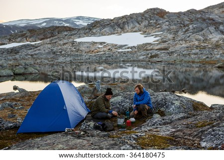 Camp in the wilderness of Northern Sweden - stock photo