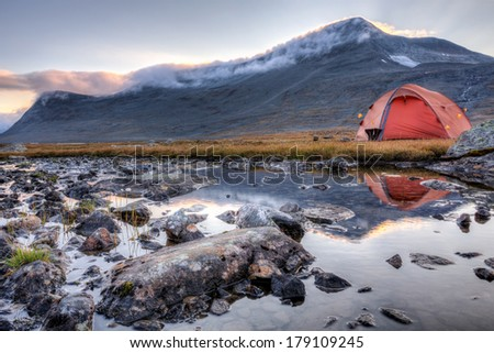 camp in the wilderness of sweden - stock photo