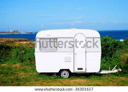 Camp mobile on a site in Brittany in France