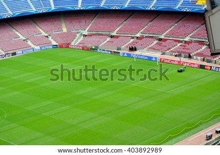 Camp Nou, Barcelona, Spain, May 4, 2015 view of the Camp Nou in Barcelona before an important match of the FC Barcelona