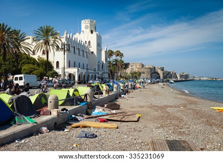 Camp of refugees in the port of Kos Island,Greece,October 2015  - stock photo