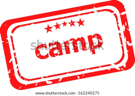 camp on red rubber stamp over a white background, raster