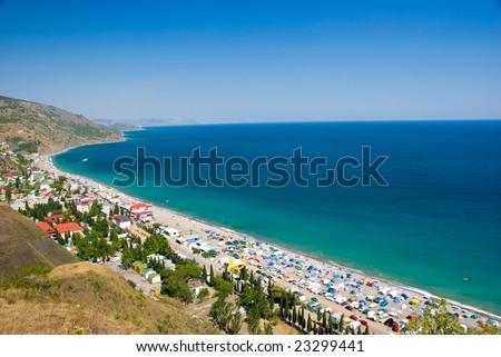 Camp on the Black Sea coast, Crimea, Ukraine. Top view. - stock photo