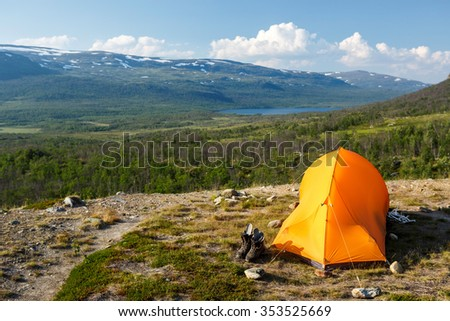 Camp on the Kungsleden - stock photo