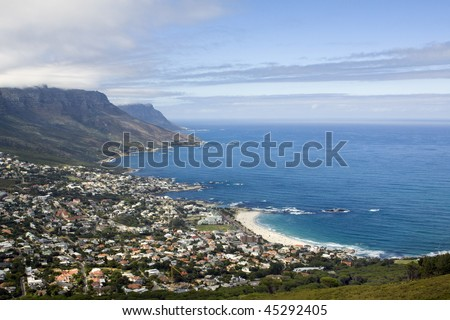 Camp's Bay Beach near Cape Town, in the Western Province of South Africa, as seen from Lion's Head - stock photo