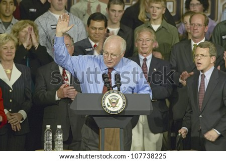 Campaign rally in Ohio attended by Vice Presidential candidate Dick Cheney, 2004 - stock photo