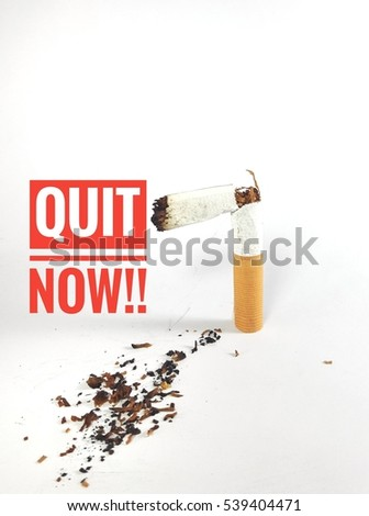 Campaign World No Tobacco Day and No Smoking Illustration Concept with broken cigarette. Great for Poster, Card And Banner. Quit now text.