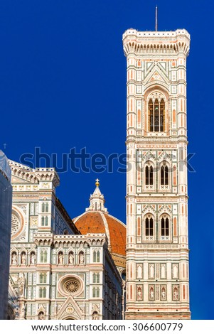 Campanile di Giotto at evening in Florence, Tuscany, Italy - stock photo