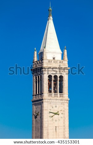 Campanile in Berkeley, California, in a sunny day, with nobody - stock photo