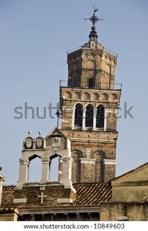 campanile santo stefano in the beautiful city of venice in italy