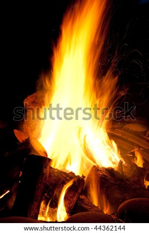 Campfire blazing flame - stock photo