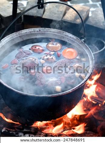 Campfire cooking, fruit dessert  - stock photo