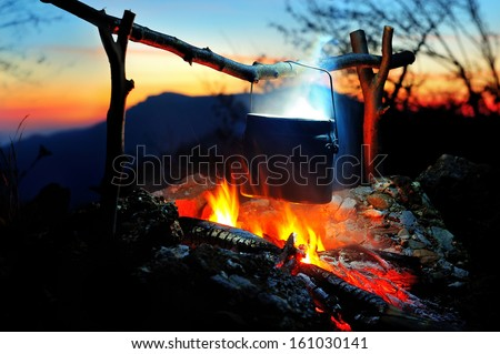 campfire in the night time - stock photo