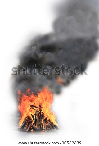campfire ,isolate on white background - stock photo