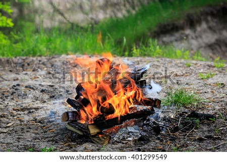 campfire on meadow in green forest at sunny spring day - stock photo